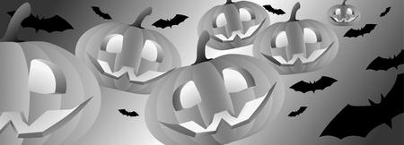 Halloween themed illustration with a pumpkins and bats Stock Vector - 15380076