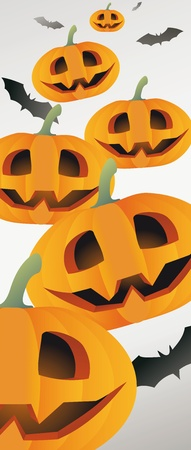 Halloween themed illustration with a pumpkins and bats  Stock Vector - 15380074