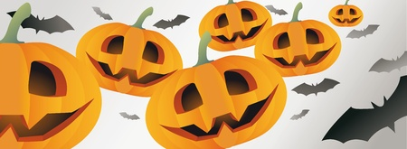 Halloween themed illustration with a pumpkins and bats  Stock Vector - 15380075