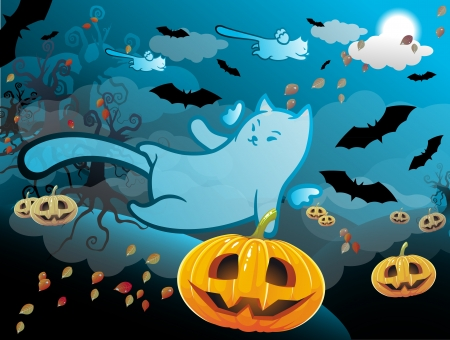 harvest moon: Halloween themed illustration with a pumpkins, ghosts cats and bats