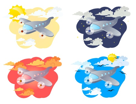 Set of four illustrations cartoon airplanes on a clouds background  Stock Vector - 15663185