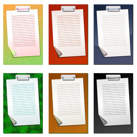 Set of colored clipboards with blank list