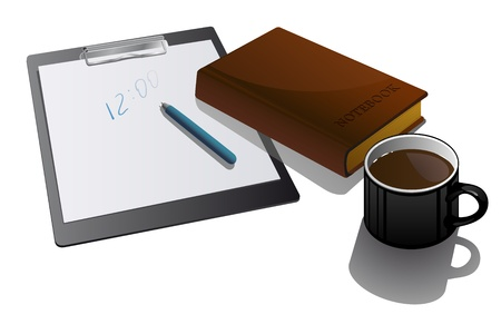 Blank clipboard with cup and notebook  Vector
