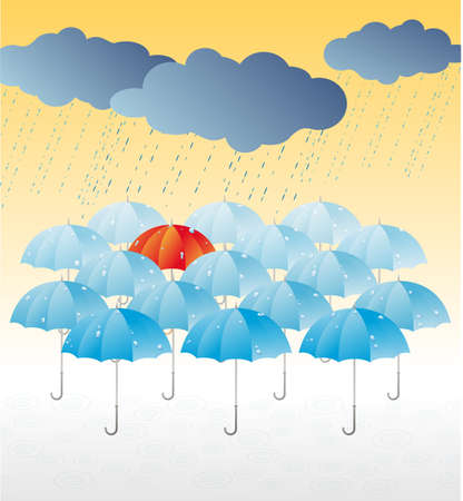 Red umbrella among of blue umbrellas under the rain  Illustration