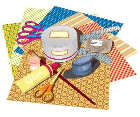 A set of papers and tools for scrapbooking classes  Vector