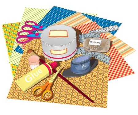 glue: Eine Reihe von Papieren und Werkzeugen f�r Scrapbooking-Klassen
