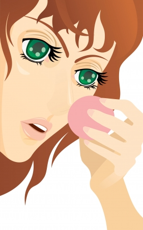 woman fist: Young woman with powder puff. Illustration