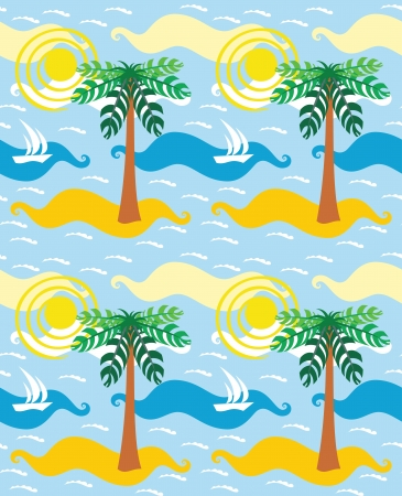 Lonely island with palm in the sea. Cartoon summer background. Stock Vector - 19104547