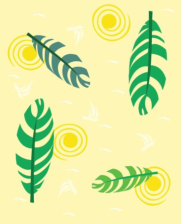 Bright seamless texture with stylized palm leaves. Vector