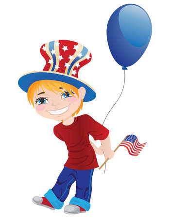 Little boy in the top hat with blue balloon and with flag. Stock Vector - 19856810