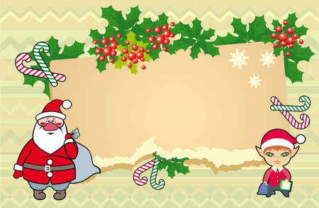 Christmas illustration with little elf and Santa Claus Stock Vector - 21961031