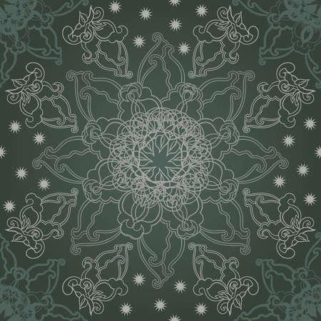 Gray elegant snowflake on the dark background.