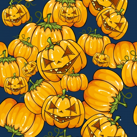 Halloween seamless texture with pumpkins. Vector