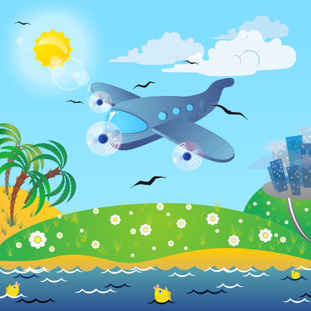 exciting: The traveling on the airplane  Exciting journey to the sea  Illustration