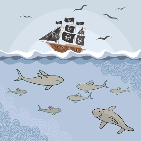 Template with cartoon sharks, waves and pirate ship  Vector illustration   Vector