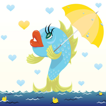Cartoon fish with umbrella under the rain of hearts. Vector illustration of Valentines Day. Vector