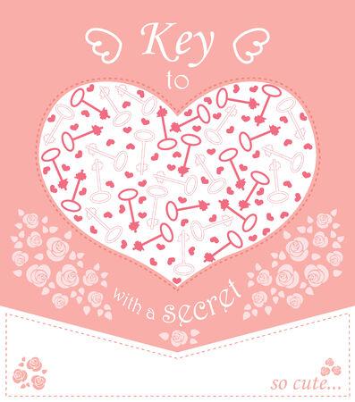 secret love: Dise�o lindo para la tarjeta de felicitaci�n con las llaves del coraz�n y rosas
