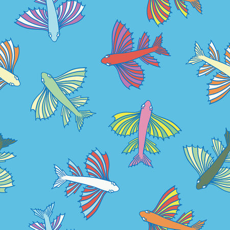 Seamless texture with fishes   Vector