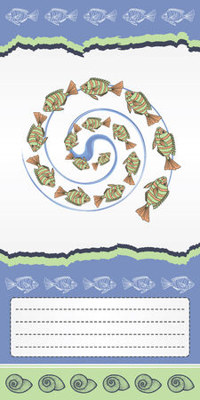 Abstract template for card with fishes   Vector