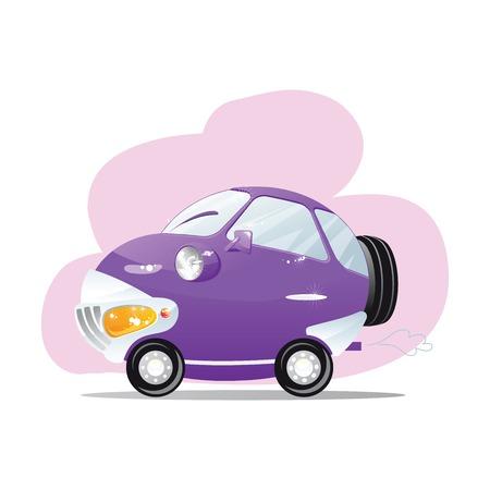 scheinwerfer: Nettes Auto mit den Scheinwerfern in einem Cartoon-Stil.