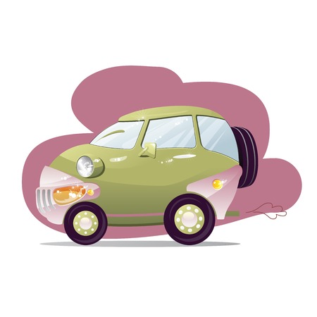 Cute car with the headlights in a cartoon style.