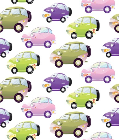 Texture with cute cartoon car with the headlights in a cartoon style. Vector
