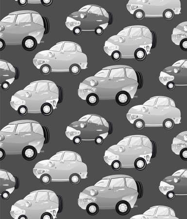 Texture with cute monochrome cartoon car with the headlights in a cartoon style.  Vector