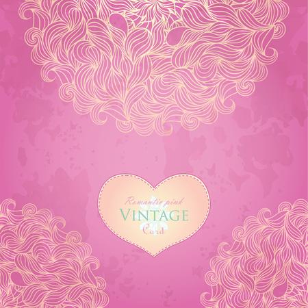 Pink template design for card.  Illustration