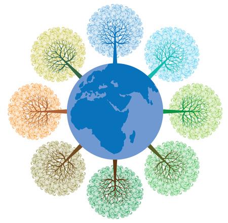 手作りの髪飾りと惑星地球と様式化された木は。