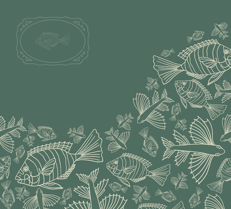 Abstract template for greeting card with fishes.