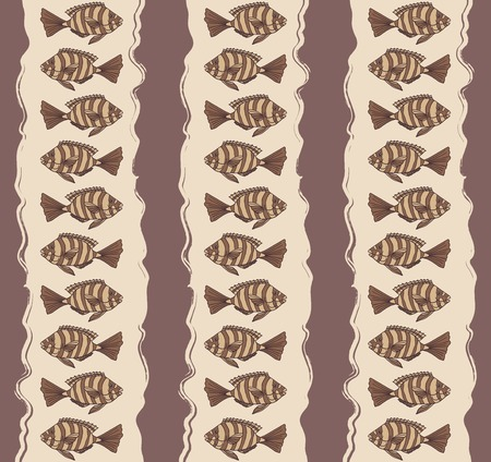 Seamless texture with fishes. Illustration
