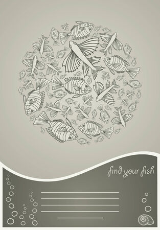 Abstract template for greeting card with fishes. EPS 8.