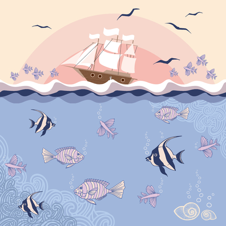 Vector illustration with fishes and ship.  EPS 8.