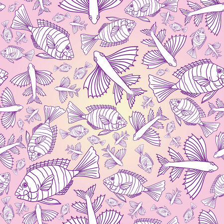 Seamless texture with fishes on the pink background.