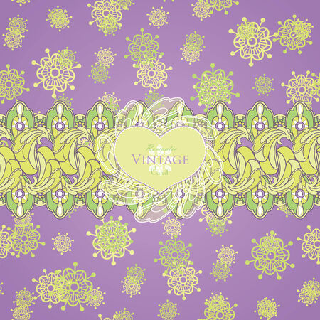 Vector design with abstract floral pattern with lace decorative element. Template design for card. Illustration