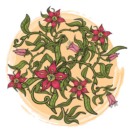 Summer illustration with stylized flowers. EPS 8.