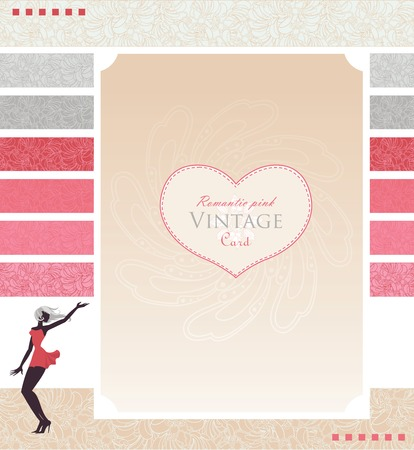 Template for card or site design with stylized beautiful girl in vintage style.