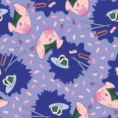 Seamless texture with cute cartoon onigiri on the blue background.