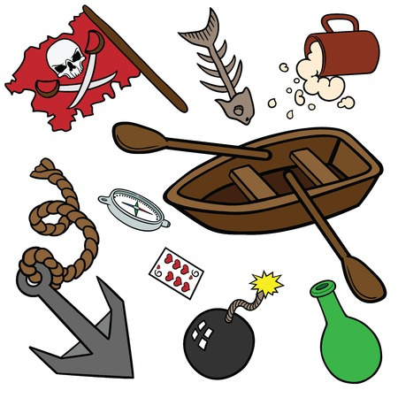 Funny pirate set in cartoon style.  EPS 10. Vector