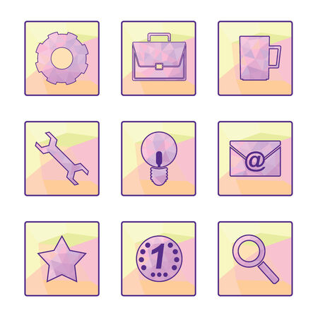 Set of vector icons in a modern style polygon. EPS 8. Illustration