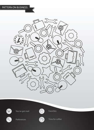 Template with abstract pattern on business. Template in a flat design with a pattern of icons.