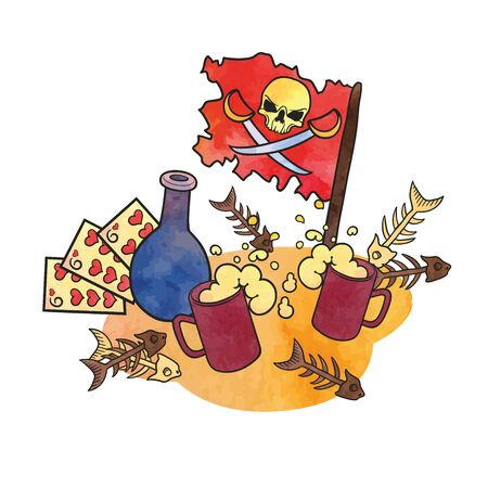 Vector illustration on a pirate theme in cartoon style. EPS 8. Illustration