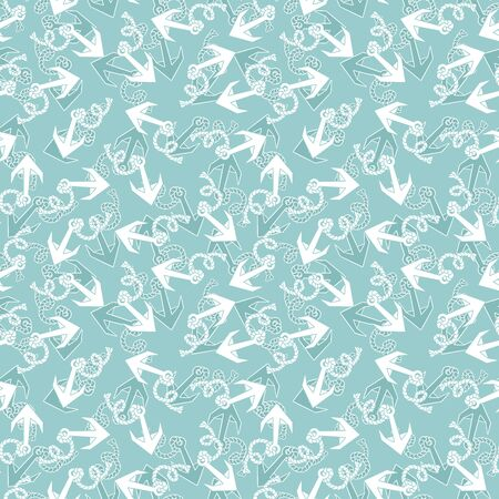 Seamless texture with pattern of stylized anchors. EPS 8