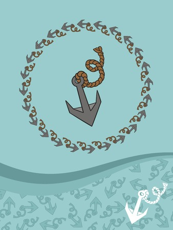 Template for greeting cards, flyers or business cards with a pattern of stylized anchors.