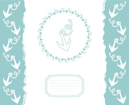 Template for greeting cards, flyers or business cards with a pattern of stylized anchors. Vector