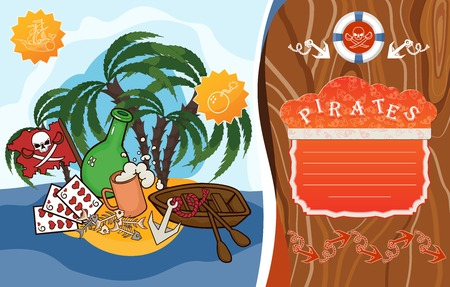 Template for greeting card, menu or flyer. Pirate theme. Illustration of the island, palm trees, boat, pirate flag, rum, mug, anchor and lifeline. Illustration