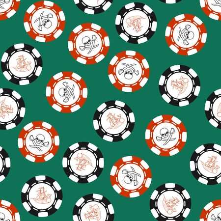 Seamless texture with stylized poker chips. Pirate symbols.