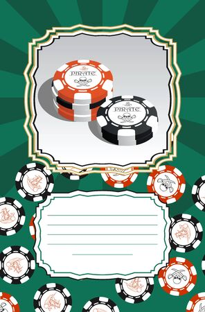 Template for greeting cards, business cards or flyers with space for text. Illustration with stylized poker chips. Pirate symbols.
