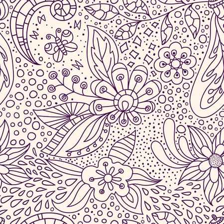 Vector floral background with hand made pattern. Lineart. Illustration