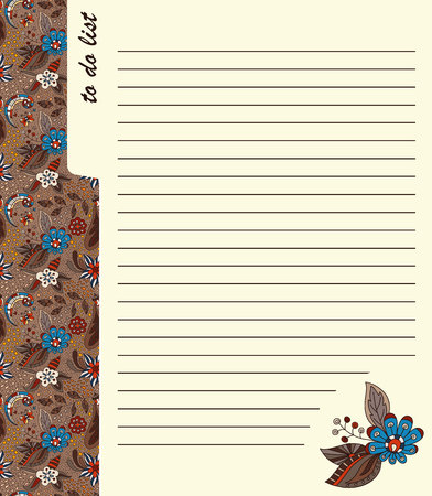 Design of organizer page. Hand drawn floral ornaments. The page of the planner for the weekly schedule. Illustration